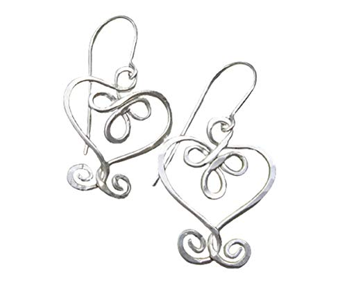 Celtic Knot Heart and Swirls Sterling Silver Earrings, Handmade in Oregon USA by Nicholas and Felice