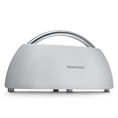 Harman Kardon Go + Play - Altavoz Bluetooth portátil con batería recargable y micrófono dual, color blanco