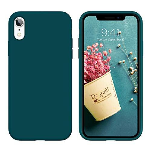 DUEDUE Coque iPhone XR, Silicone Liquide Douce Rigide Antichoc Micrifibre Protection Téléphone iPhone XR Vert…
