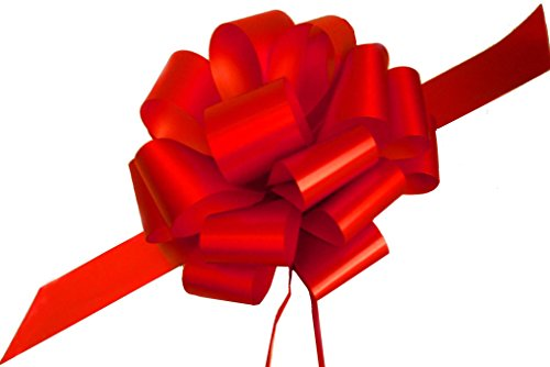"""Large Red Ribbon Pull Bows - 9"""" Wide, Set of 6, Christmas, Big Gift Bows, Gift Basket, Presents, Wreath, Swag, Garland, Fundraiser, Decoration, Office, Classroom, Valentine's Day"""