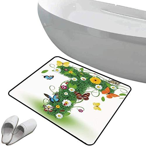 Alfombra de baño antideslizante de felpudo Letra t Alfombrilla goma antideslizante Diseño inspirado en la naturaleza con flores y animales Follaje verde Verano Vibes Decorativo,Verde Multicolor,Interi