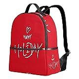Happy Holiday - Mochila con cita roja para mujeres, adolescentes, niñas, bolso de moda, para viajes, universidad, casual, para niños