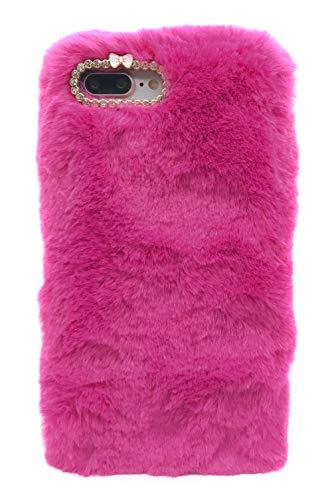 3C Collection Cover iPhone 7 Plus Pelosa Rosa Rossa, Cover iPhone 8 Plus Pelose, Cover Morbida e Peluche per iPhone 7 Plus e iPhone 8 Plus 5.5inch Cover Peloso per Donne Carina