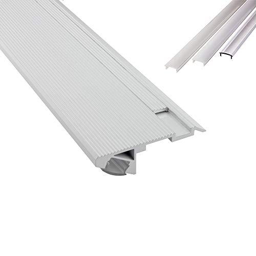 B-WARE - T-STA 30° LED Alu Treppenprofil Treppenwinkel Profil Stufen weiss + Abdeckung Abschlussleiste Fliesen für LED-Streifen-Strip 1m milky