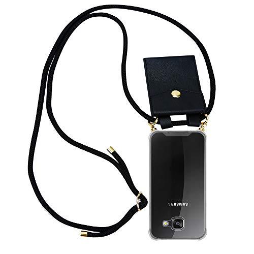Preisvergleich Produktbild Cadorabo Handy Kette für Samsung Galaxy A3 2016 in SCHWARZ Silikon Necklace Umhänge Hülle mit Gold Ringen,  Kordel Band Schnur und abnehmbarem Etui Schutzhülle
