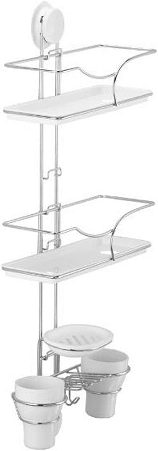 Multi-Function Suction Cup Combination Shelf, Stainless Steel Punch-Free Wall Hanging Bathroom Bathroom Kitchen Finishing Storage Rack