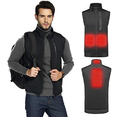 DEKINMAX Chaleco Calefactable Hombre y Mujer USB Chaleco Térmico Eléctrico Chaleco Calefactor Lavable Temperatura Ajustable para Invierno(Sin Batería) (XXL)