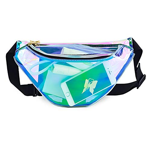 Fashion PVC Shiny Clear Cute Fanny Pack Waterproof for Women Girls Men Holographic Money Belt Wallet Pouch with Adjustable Belt for Gym,Running, Hiking, Travel, Camping