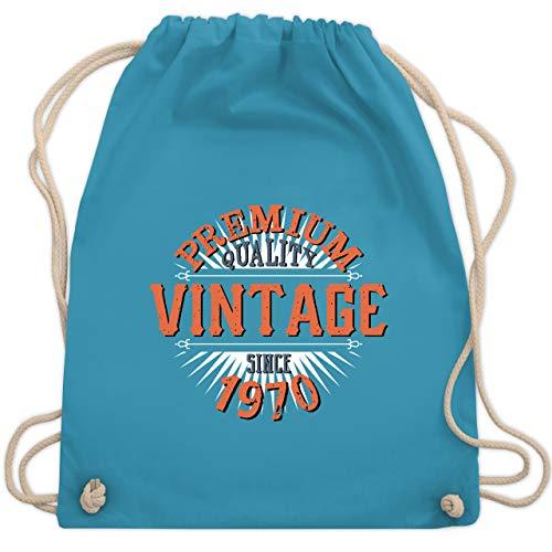Shirtracer Geburtstag - 50. Geburtstag Vintage 1970 - Unisize - Hellblau - 50 turnbeutel - WM110 - Turnbeutel und Stoffbeutel aus Baumwolle
