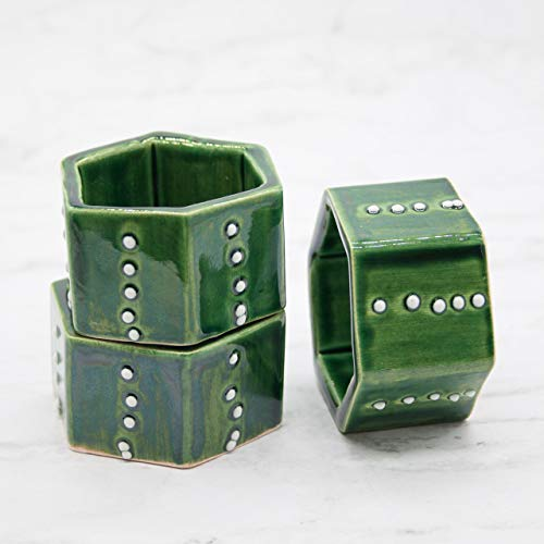 Handmade, Cactus Inspired Ceramic Stoneware Napkin Rings in Emerald Green with White French Dimension