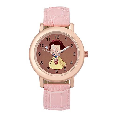 Snow White Seven DwarfsLadies Reloj de cuarzo de cuero 2266 espejo de cristal redondo rosa accesorios casuales moda temperamento 1.5 pulgadas