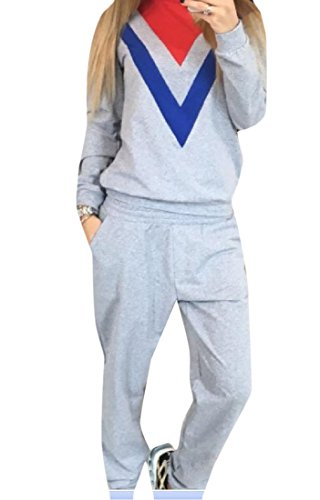 Zimaes Women's Stylish Floral Loose Long Sleeve Sweatsuit Set Grey L