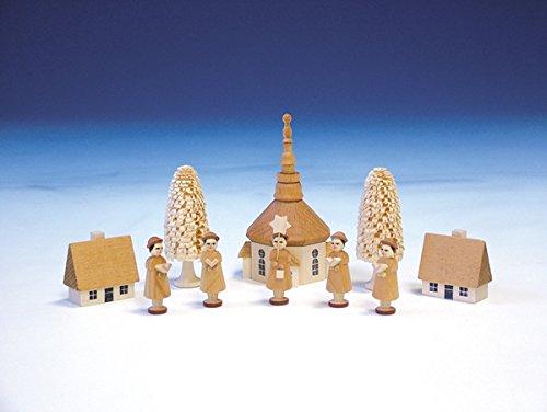 Tischdekoration Kurrendefiguren mit der Seiffener Kirche natur Länge 11 cm NEU Seiffen Erzgebirge Weihnachten Fensterschmuck Spielzeug Deko Weihnachtsfigur