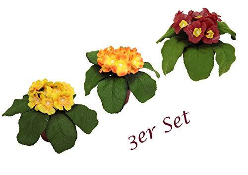 Flair Flower Künstliche Mini Primel im Topf Kunstblumen Blumen Seidenblumen Real Touch Kunstpflanze Dekopflanze Dekoblume Topfblume, Gelb/Orange/Rosa dunkel, 15x18x18 cm