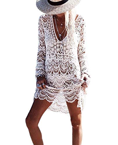 DNFC Strandkleid Damen Badeanzug Sommer Strand Kleider V-Ausschnitt Beach Kleid Schöne Spitze Strickkleid Strandmode Bikini Cover Up Strandkleider für Urlaub (Weiß, One Size)