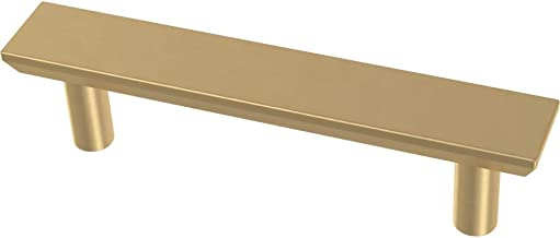 Franklin Brass P40844K-117-C Simple Chamfered Kitchen or Furniture Cabinet Hardware Drawer Handle Pull, 3-Inch (76mm), Brushed Brass, 10-Pack