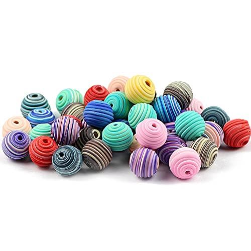 WEIMEIDA JQBB506 10 unids 15 mm Polímero Clay Beads Patrón Espiral Espaciador Redondo Perlas Sueltas para joyería Haciendo niñas Pulsera de Bricolaje Accesorios Snttz