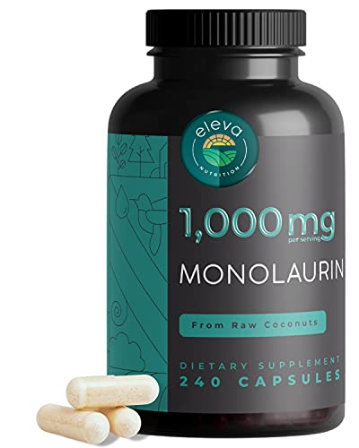 Monolaurin Capsules 1000 mg - Monolaurin Supplements w/ Monoester Lauric Acid - Monolaurin Pills for Immune Support, Biofilm Disruptor, Digestion, & Candida Support - 240 Capsules