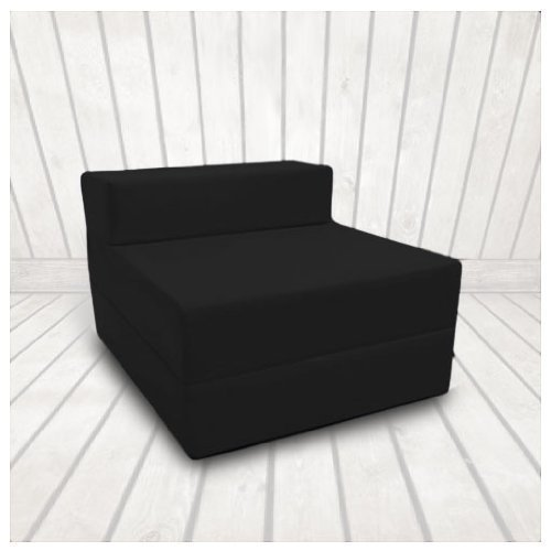 Ready Steady Bed Single 1 Seater 100% Cotton Twill Fold-Out Zbed Futon Mattress, Black
