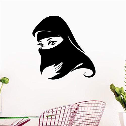 Elegante zwarte Arabisch moslimen dames masker islamitische muursticker decoratie thuis voor meisjes slaapkamer wanddecoratie kunststicker