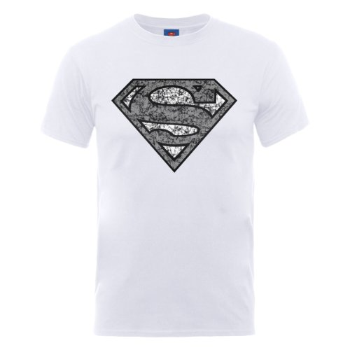 Dc comics DC0001611 Official Superman Distressed Logo T-Shirt, Blanc-Blanc, Large Homme