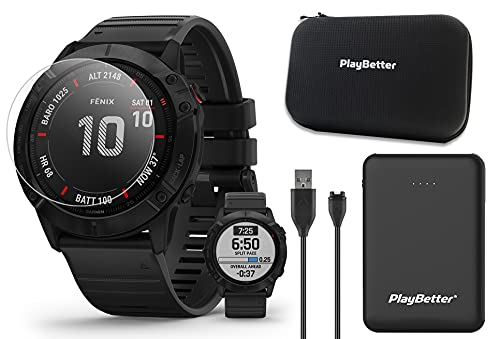 Garmin Fenix 6X Pro (Black/Black Band) Power Bundle   with PlayBetter Portable Charger, HD Screen Protectors & Protective Hard Case   Multisport GPS Smartwatch   PacePro, Music   010-02157-00