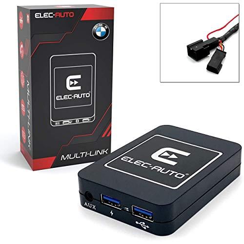 Interfaz Bluetooth - USB MP3 - Auxiliar para el Coche BMW con Cargador de CD | Kit de transmisión de Audio a Manos Libres | Cargador | Jack Jack | Caja de empotrar Invisible | Accesorio para la Radio