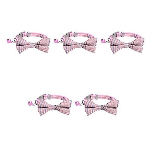 Anjing 5 piezas collar de gato campana collar ajustable mascota rosa poliéster cuello circunferencia es de aproximadamente 24-32 cm