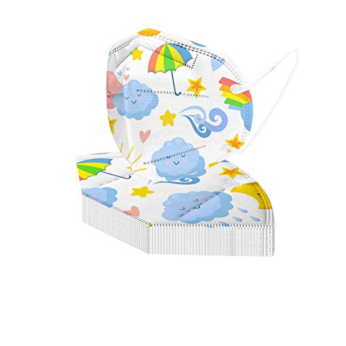 20PCs Breathable Disposable Kids Face Macks, 5Plyer Washable Children Face Bandanas with Filter Pocket, Cartoon Print Face Dust-Proof Covering for Boys & Girls(Star, Fish, Rainbow, Moon) (B)