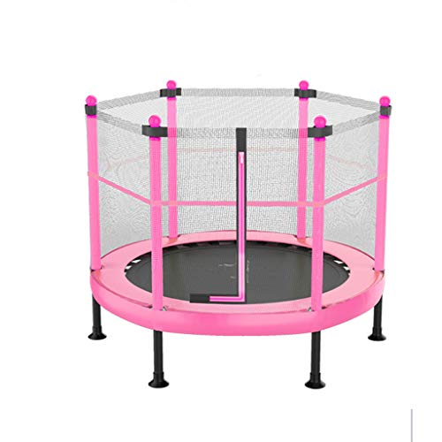 HYM Children's Trampoline Outdoor Indoor Trampoline Fitness Bed Small Trampoline With Protection Net Family Entertainment Bouncing Bed Children's Game (pink)