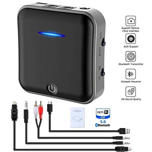 BQT 5.0 Bluetooth transmitter zender en ontvanger met digitale optische kabel TOSLINK, RCA en audiostekker, USB-oplaadkabel, aptX HD en aptX LL, voor tv, laptop, pc, hoofdtelefoon, luidspreker, thuis, zwart