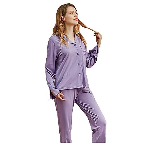 Conjunto De Pijamas para Mujer - Conjunto De Pijamas para Mujer De Manga Larga, con Botones, Ropa De Dormir Suave De Dos Piezas, Ropa De Dormir para El Hogar, Ropa De Dormir, Primavera,Púrpura,XXL