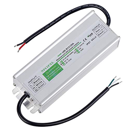 LED Driver 120 Watts Waterproof IP67 Power Supply Transformer Adapter 100V-260V AC to 12V DC Low Voltage Output for LED Light, Computer Project, Outdoor Light and Any 12V DC led Lights