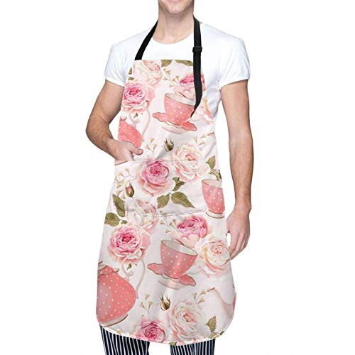 ZCHW Bib Apron, Pink Teapot Aprons for Women Cooking Baking Waterproof Kitchen Apron with 2 Pockets Adjustable Neck Strap