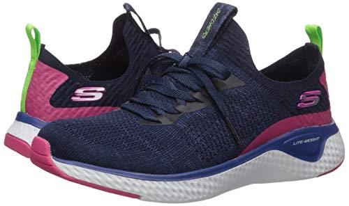Skechers Women's Stretch Flat Laced Slip Trainers, Blue (Black Knit Mesh/Multi Trim Nvmt), 4 (37 EU)