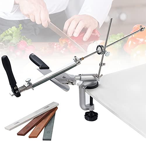 Afilador Cuchillos, PaNt Afilador de Cuchillos Profesional Manual con 4 Piedras de Afilar Afilador...