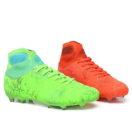MALAXD Men's Women's AG Cleats Training Long Studs High-Top Football Soccer Shoes Couple 5.5/4.5 US