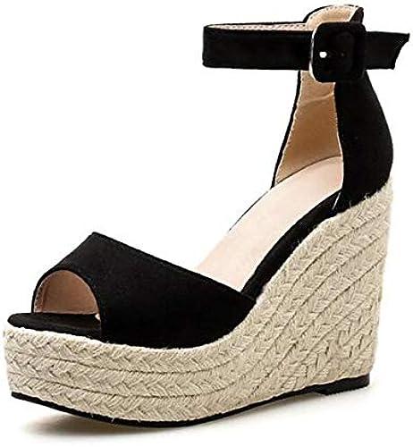 YOPAIYA Espadrilles,Frauen 11Cm High Heels Plattform Plattform Plattform Sandalen Peep Toes Wedge Espadrilles Frauen Schnalle Strap Komfortable Frauen Sandalen  Online-Shop
