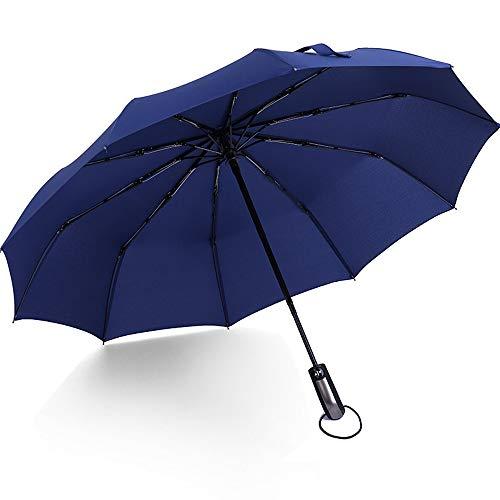 xinrongqu Automatikschirm Klappbar Offen Groß Doppelt 30% Winddicht Männer Und Frauen Verstärkt Regen Und Regen Dual-Use Student Sonnenschirm Navy (10 Knochen Automatisch)