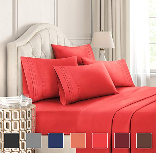King Size Sheet Set - 6 Piece Set - Hotel Luxury Bed Sheets - Extra Soft - Deep Pockets - Easy Fit - Breathable & Cooling Sheets - Wrinkle Free - Comfy - Red Bed Sheets - Kings Sheets - 6 PC