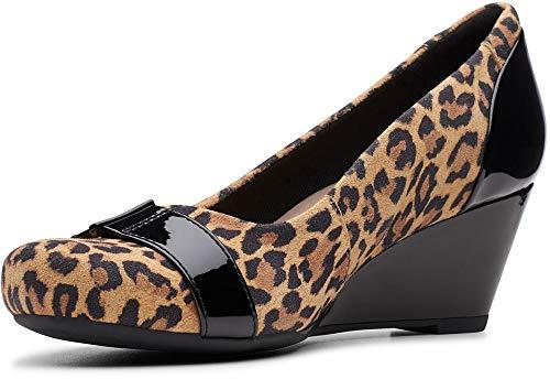 Clarks Damen Flores Poppy Pump, Braun (Hellbraunes Leopardenmuster), 38.5 EU