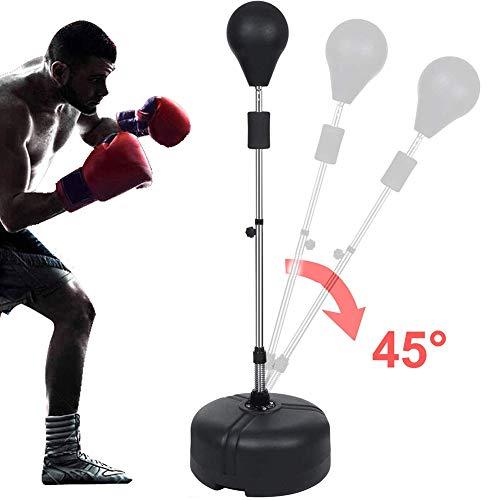 Dapang Verstellbare Punchingball Standboxsack Set für Kinder Jugend Erwachsene Speedball Boxtraining Standboxball mit Boxhandschuhen und Ständer Set,Schwarz