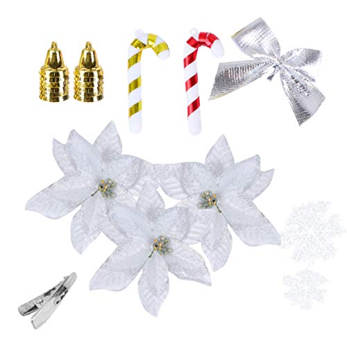 ABOOFAN Kit de Adornos para Árboles de Navidad de 120 Piezas con Flores de Nochebuena Artificiales Bastón de Caramelo Copo de Nieve Arco Campana Decoraciones para Árboles de Navidad de