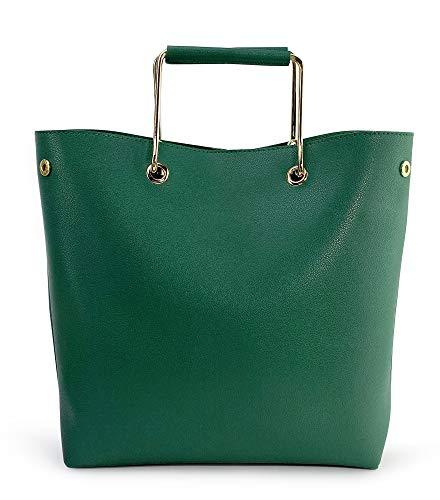 Women Tote with Metal Handle Vegan Leather Convertible Top Handle Handbag (Green)
