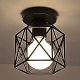 Laiashley - Lampadario geometrico americano, stile retrò, in ferro battuto, super luminoso, semplice lampadario da soffitto in ferro battuto, colore: nero