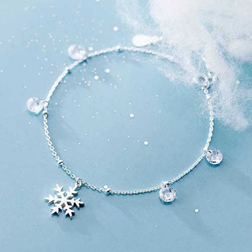 KUANGLANG Temperament 925 Sterling Silver Xmas Snowflake Bracelets For Women Elegant Crystal Bean Bracelet