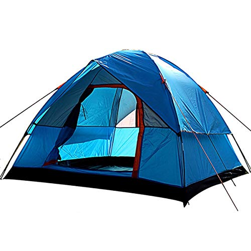 Wandern Camping-Zelt, Wasserdicht 4 Personen Double-Layer-Außen Family Camping Spielraum-Zelt im Freien Anti-Sturm Camping-Zelt anybz (Color : Blue)