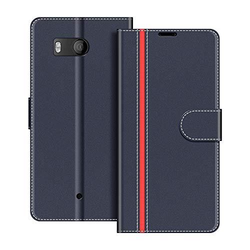 COODIO Handyhülle für HTC U11 Handy Hülle, HTC U11 Hülle Leder Handytasche für HTC U11 Klapphülle Tasche, Dunkel Blau/Rot