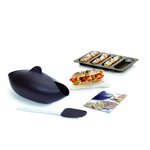 Lékué Kit Bread Essential, Brotbackschale/Baguette-Backform, Set, Silikon Braun, 600 ml