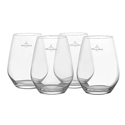 Villeroy und Boch - Ovid Wasserglas-Set, 4 tlg., 420 ml, 10,9 cm, Gläser für Kaltgetränke, bauchige Form, Kristallglas, spülmaschinengeeignet